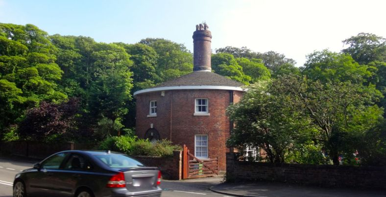 Moor Lane, and unusual round house.